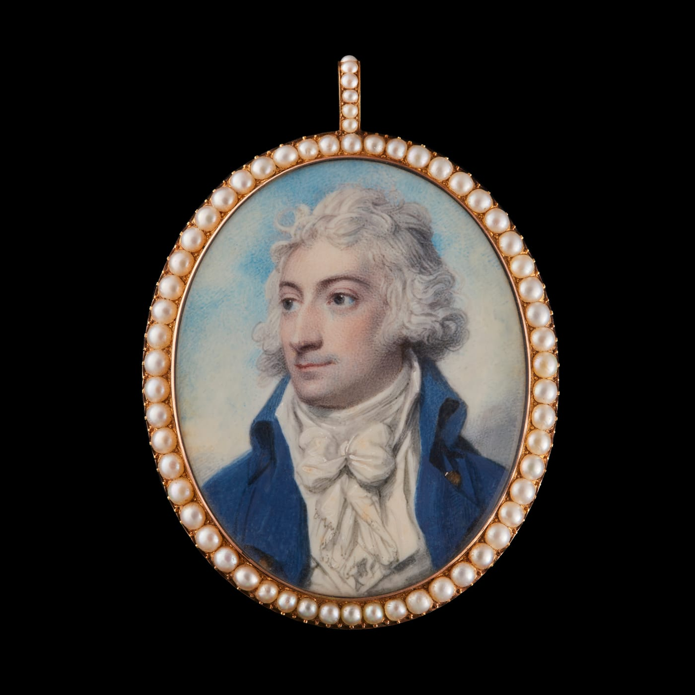 portrait miniature of a gentleman by richard cosway, surrounded by a pearl frame