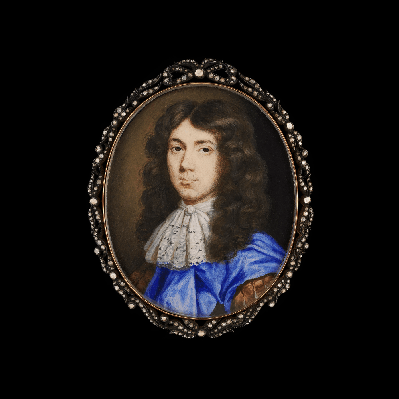 portrait miniature of a gentleman in a blue and brown dublet, and white neckerchief, by richard gibson court painter. other works by richard gibson are for sale in theartist page
