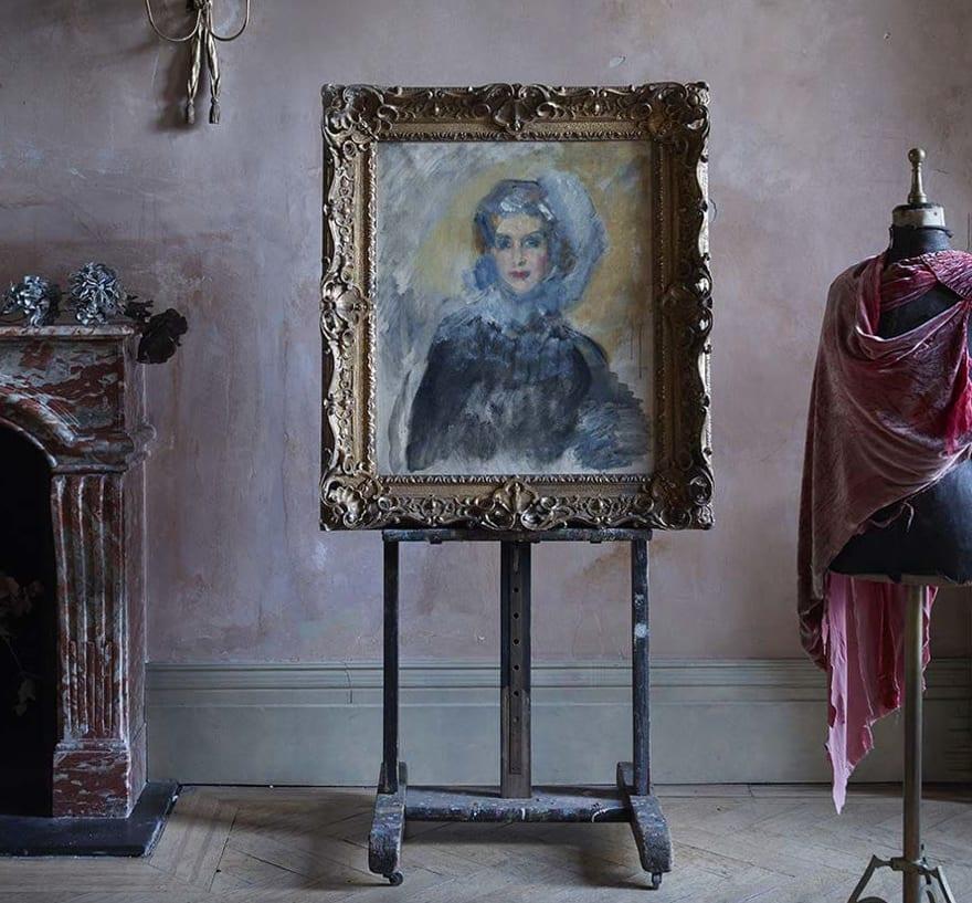 Ambrose McEvoy, portrait on easel.