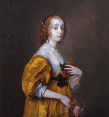 Portrait of Lady Villiers by Antony Van Dyck. Lady Mary Villiers wears a golden dress, her hair back and holds a flower . This artwork has sold, please see the artist's page for artworks for sale by Antony Van Dyck