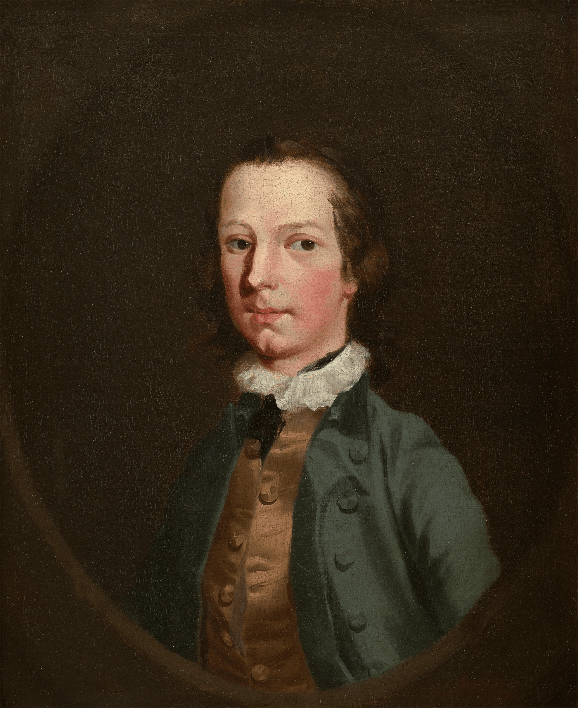 Portrait of a boy by Richard Wilson (RA), the sitter wears a green coat, white ruff and brown waistcoat against a black background
