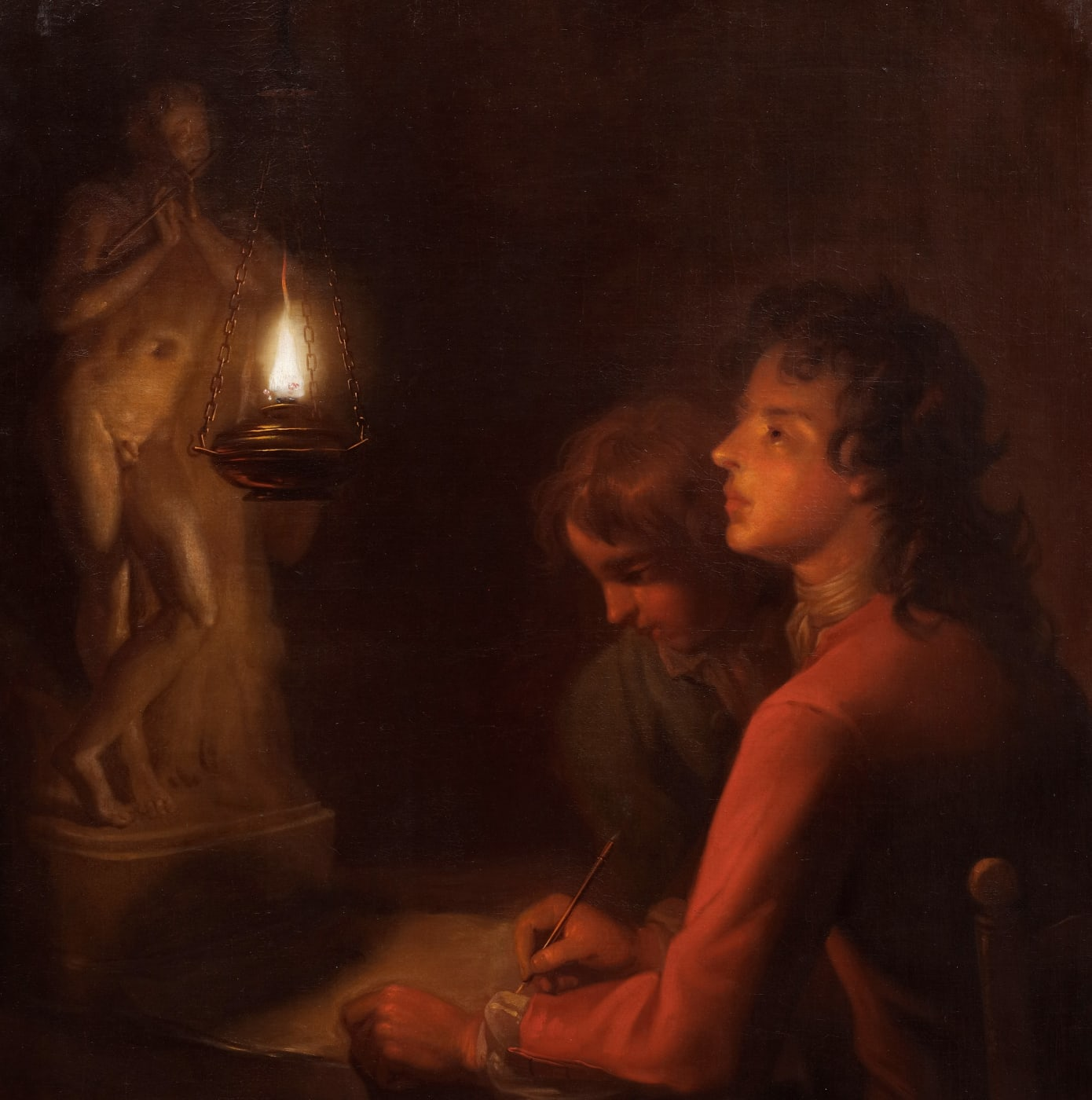 Portrait of the artist's brother, with a lit candle by Enoch Seeman