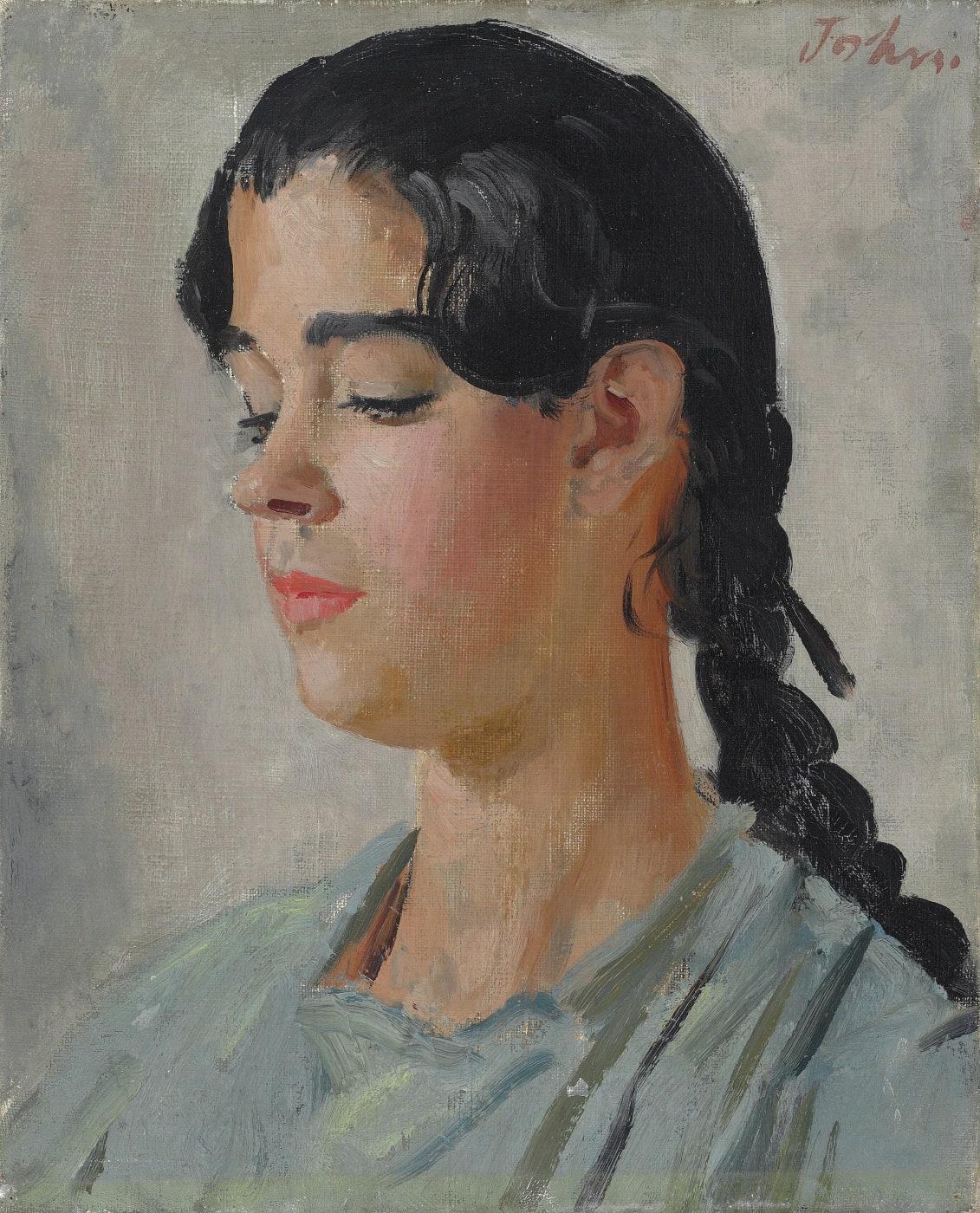 portrait of josepha, by augustus edwin john. Josepha wears a blue top and has black hair, she is looking down