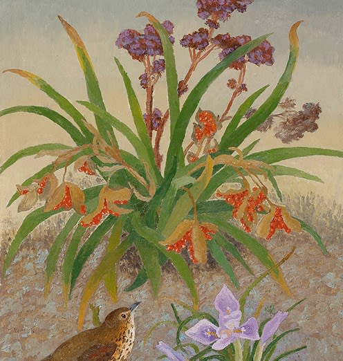 Painting of an iris and a thrush by Sir Cedric Morris. Purple flowers and red irises