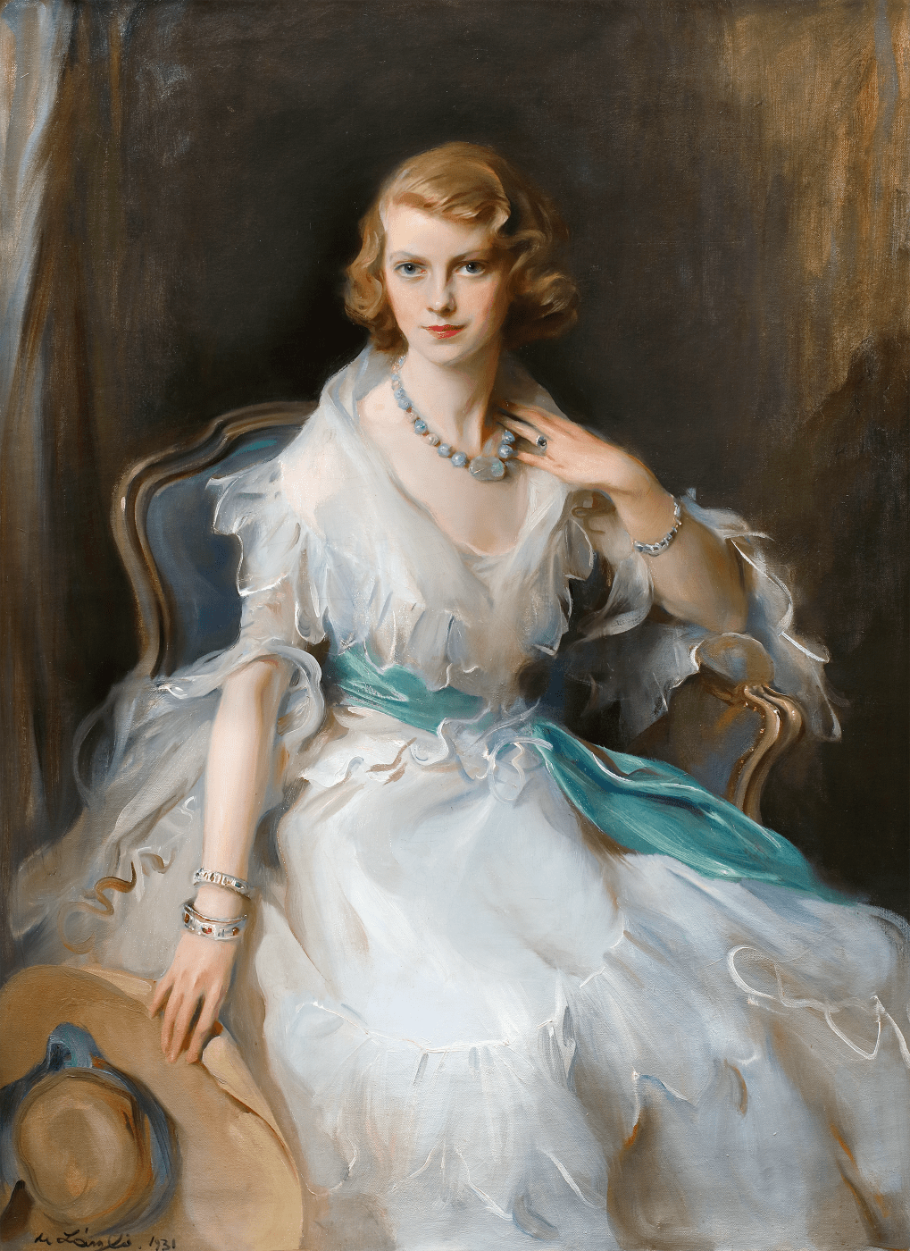 portrait painting of Onnagh Guinness sitting in white fashionable dress by modern british artist Philip de Laszlo