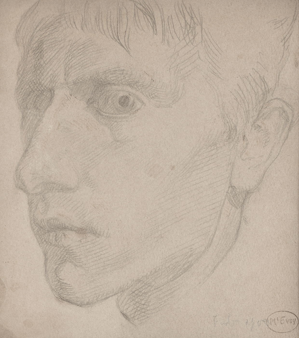 Ambrose McEvoy Self Portrait in Pencil