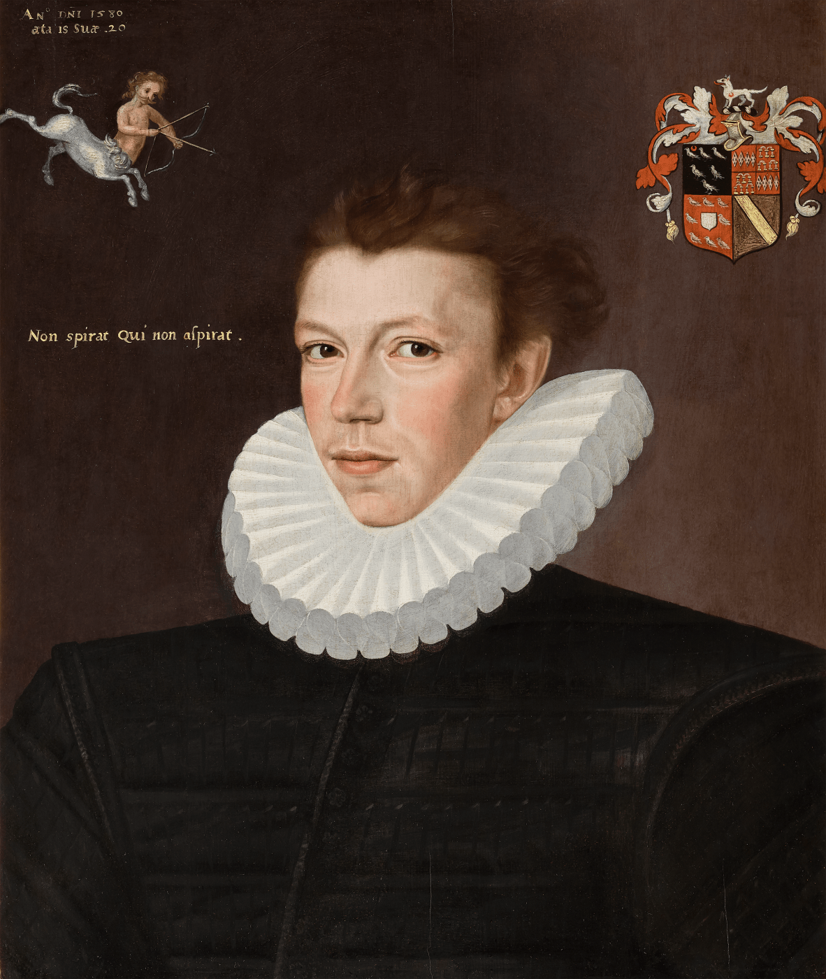 Old Master 16th Century portrait of William Arundell wearing a Tudor ruff by artist George Gower