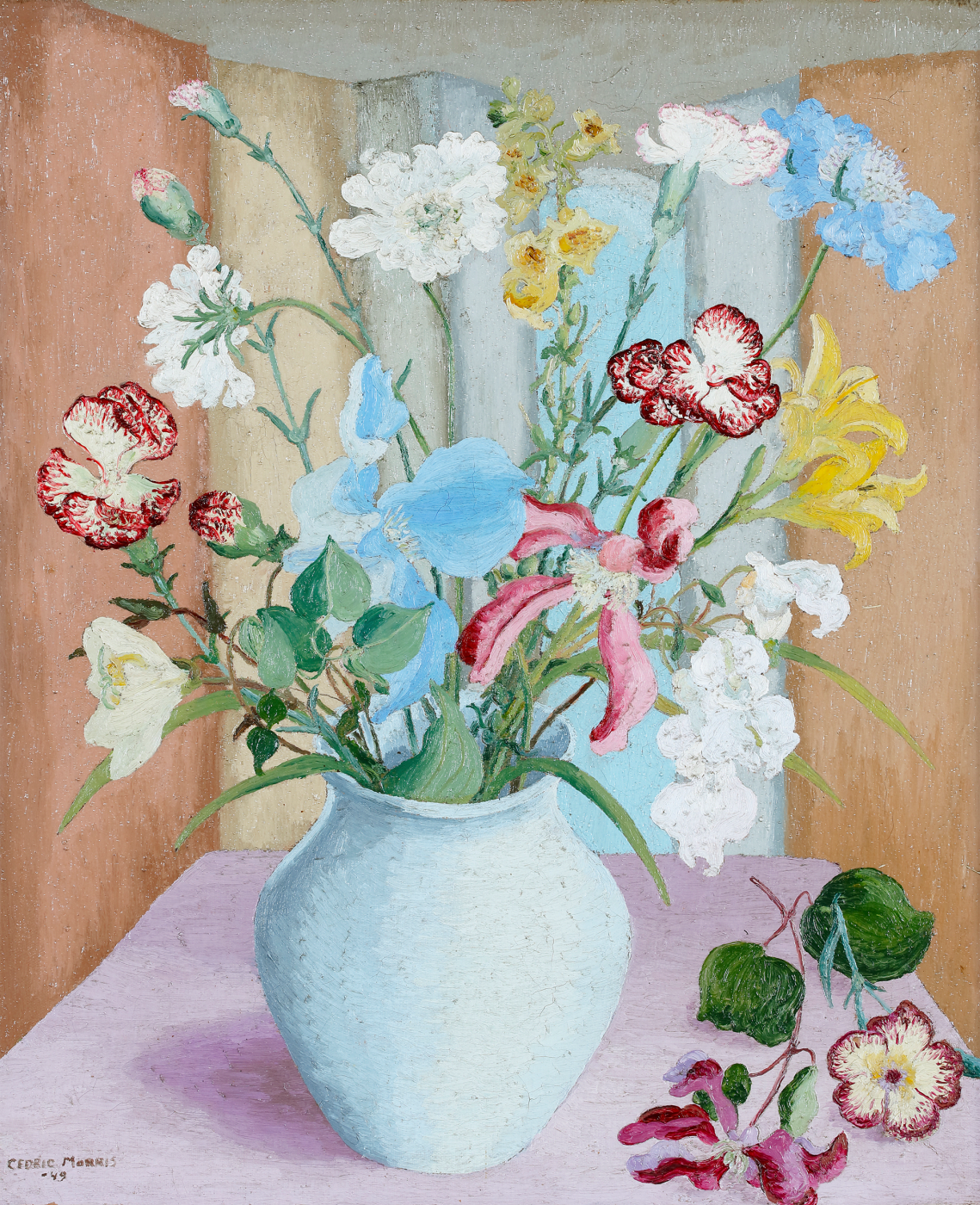 Modern British still life painting by Cedric Morris of summer flowers in a blue jug