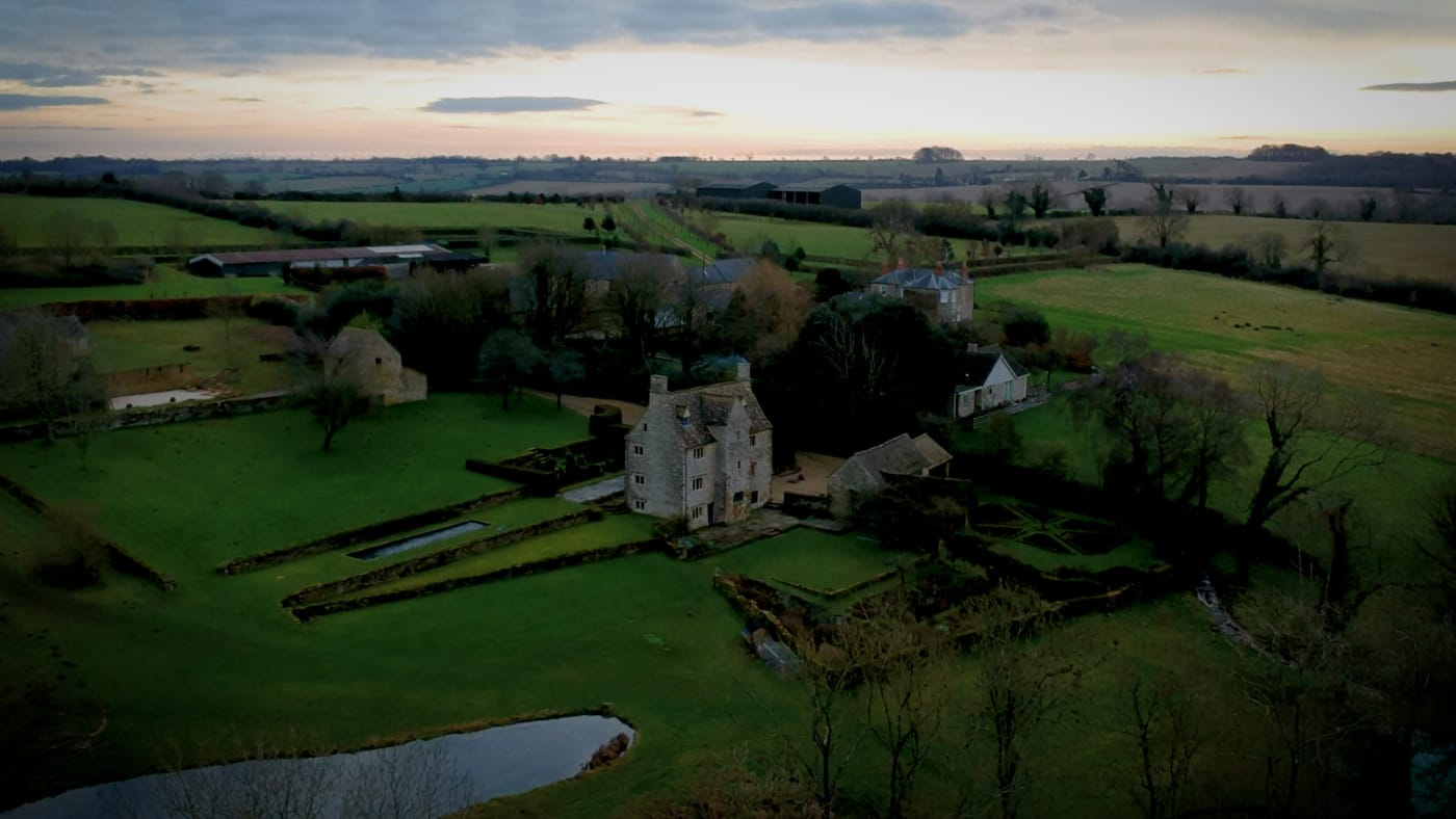 Philip Mould's Oxfordshire home drone shot of 16th Century manor house