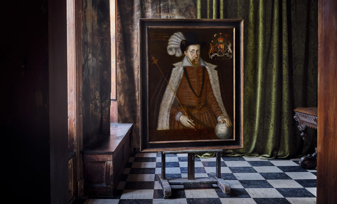 Jacobean portrait painting of king james on an easel at charter house on display for sale