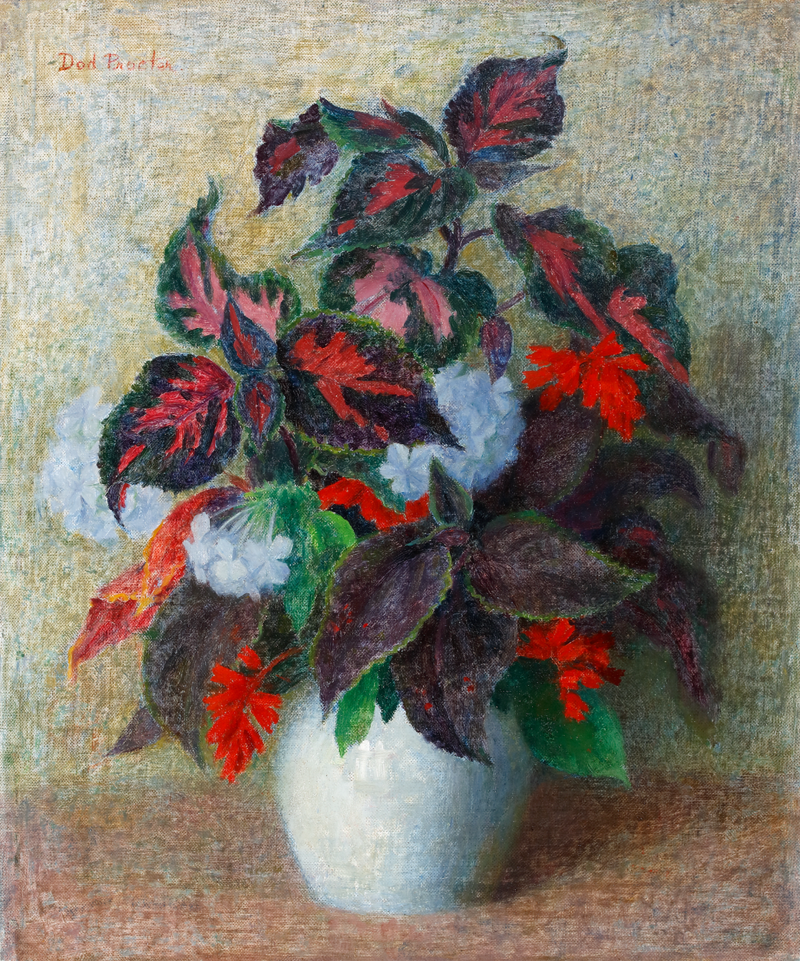 Oil on canvas, Modern British Painting by female artist Dod Procter, displaying a blue vase containing red and green flowers.