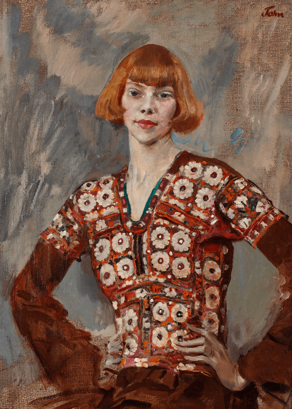 a portrait of poet Iris Tree in a patterned red and white crochet top, against a blue and grey background.