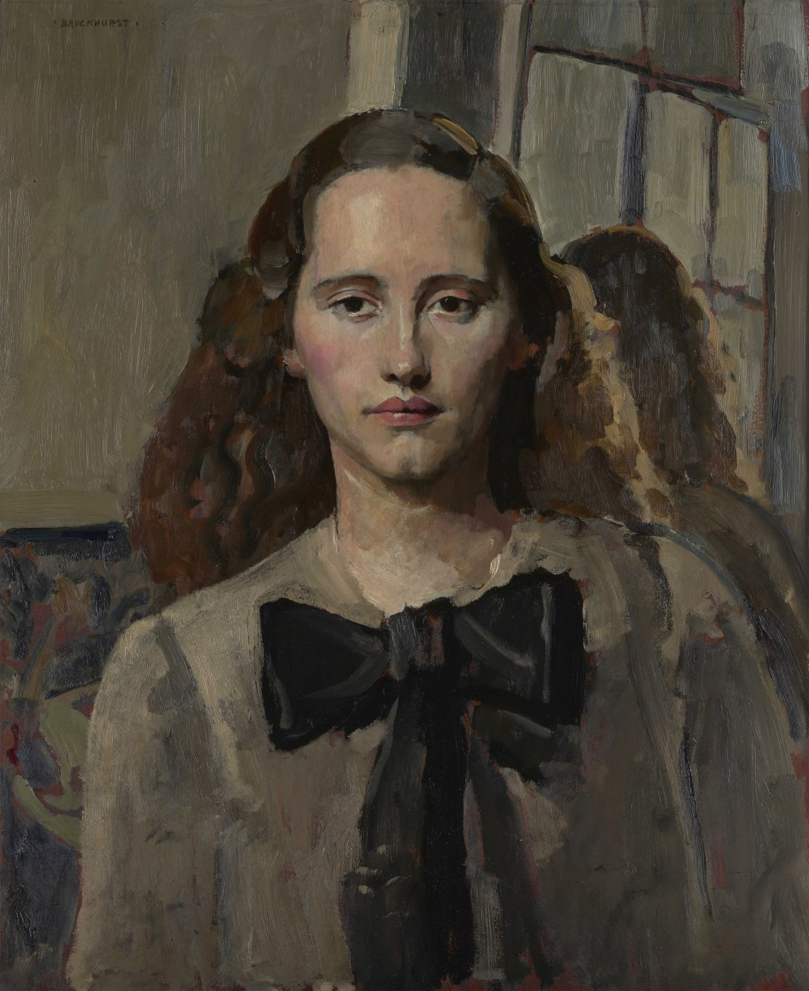 Portrait of Nancy Woodward in a grey dress and black bow around the collar, by Gerald Leslie Brockhurst.