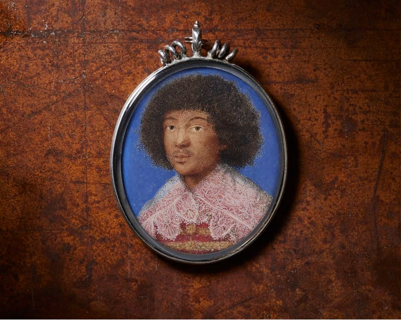 Portrait miniature of Zaga Christ painted by female artist Garzoni. The painting is the first known depiction of an afro european subject in portrait miniature in europe.