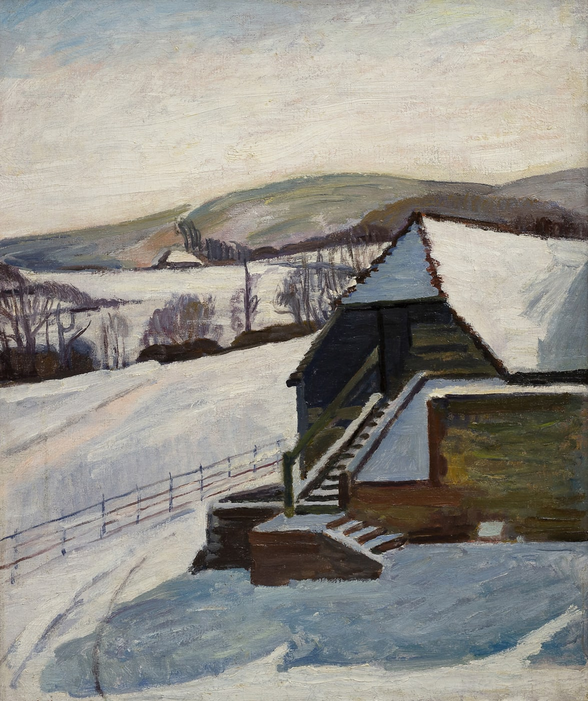 Painting of one of the barns at Charleston House, winter 1940. Painted by Vanessa Bell -