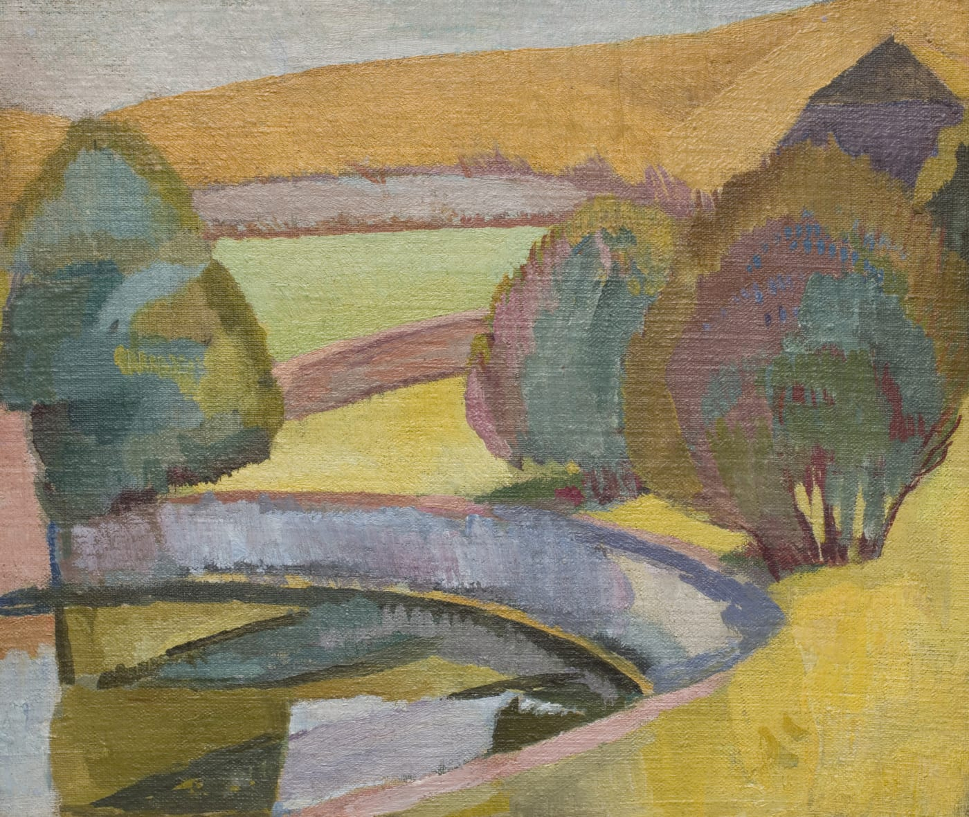 painting of the pond at Charleston House in West Sussex, by Vanessa Bell .