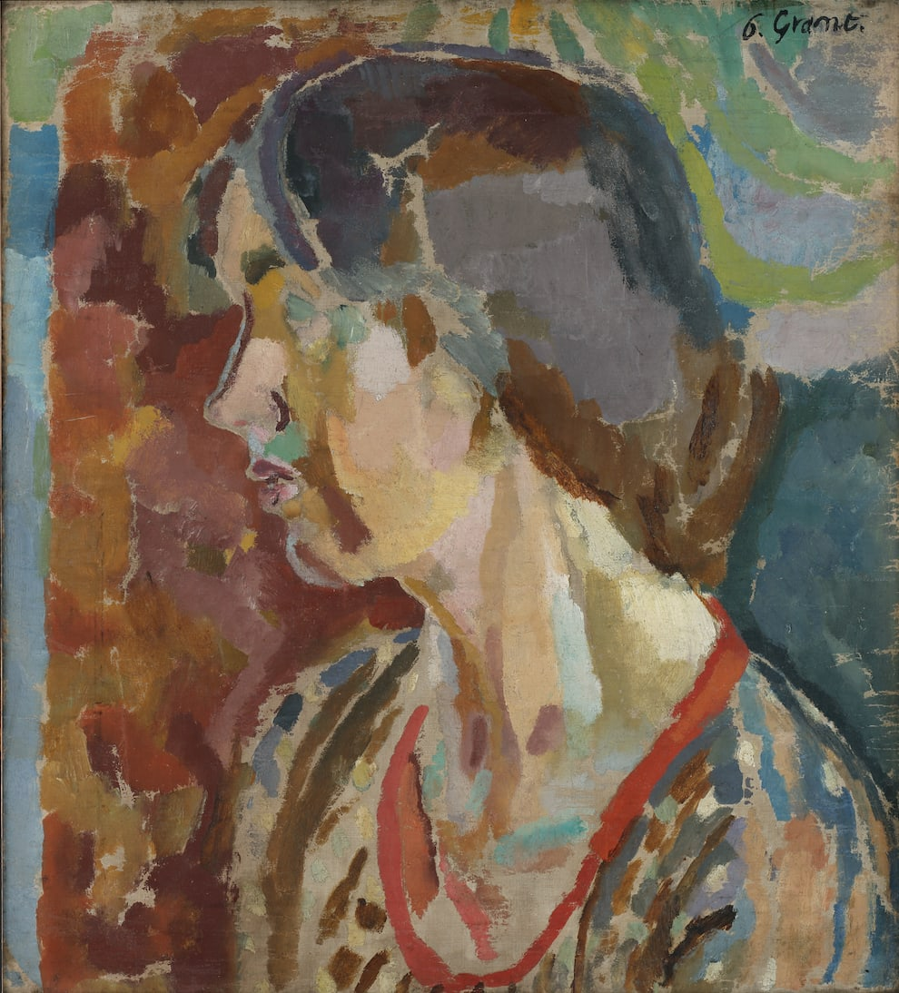 Portrait of Vanessa Bell by Duncan Grant. Vanessa sits side profile to the viewer against an abstract, bold background