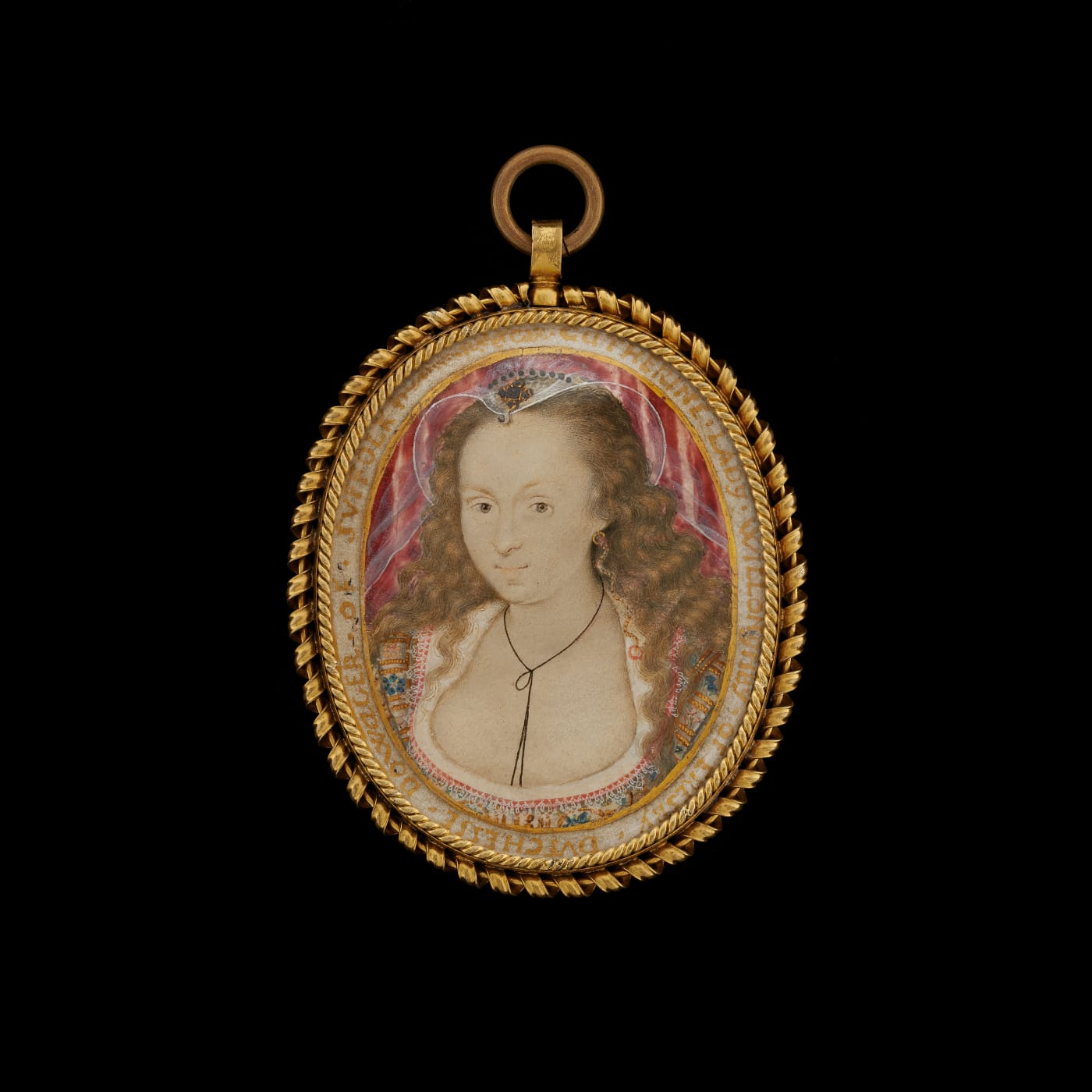Watercolour on velum, portrait miniature by Isaac Oliver, presenting a young woman with her hair worn loose, in a low cut dress and veil.