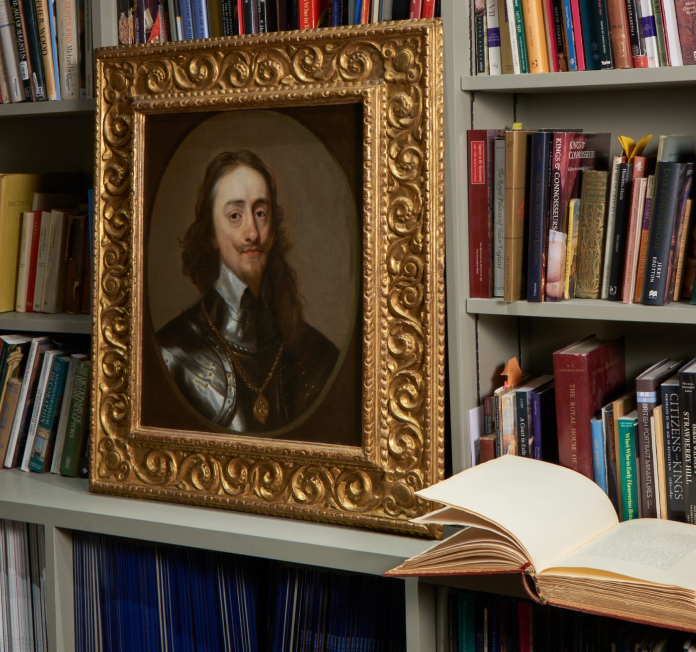 Oil on canvas Portrait of King Charles I shown in the Philip Mould & Company library