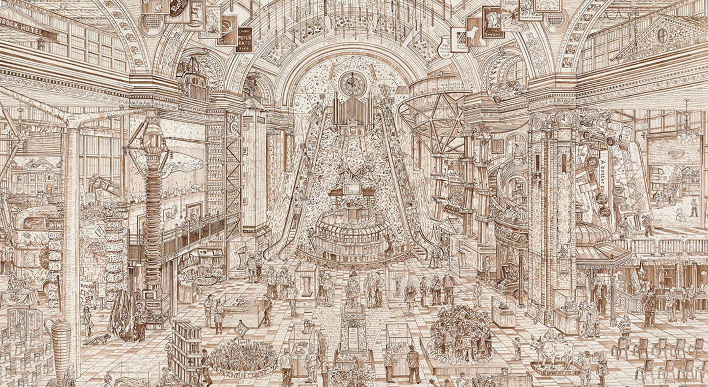 The Government Stable (detail), 2015, sepia ink drawing, 230 x 170 cm. Image © Parliamentary Art Collection