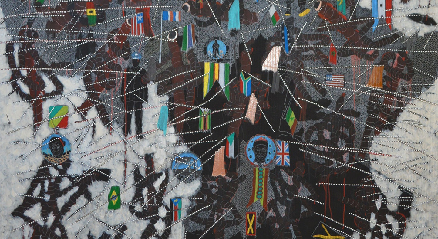 Omar Ba, Here Africa (detail), 2015, oil, acrylic and crayons on cardboard, 200 x 130 cm