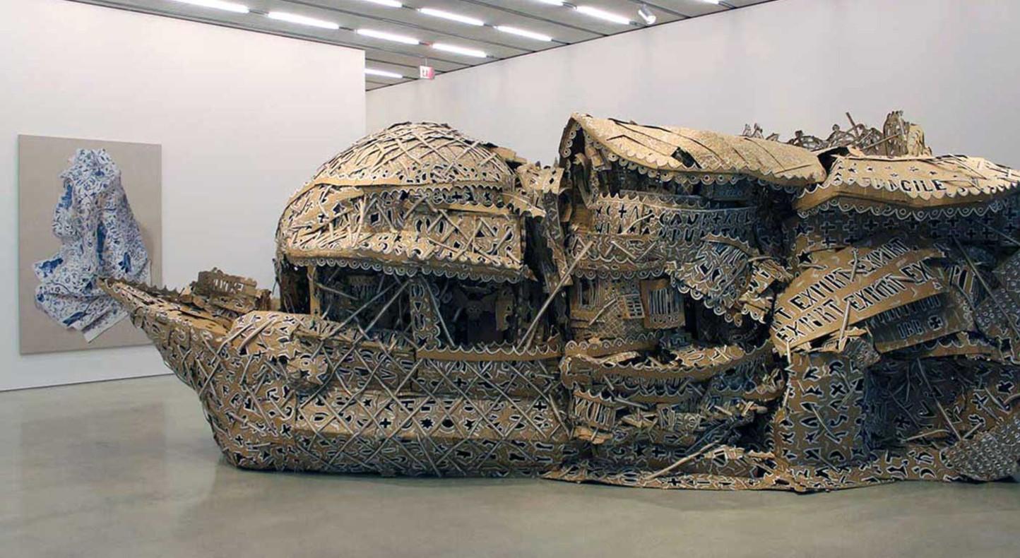 Hew Locke, 'Hemmed in Two', 2000. Installation view Pérez Art Museum Miami, 2016. Photo courtesy Pérez Art Museum Miami.