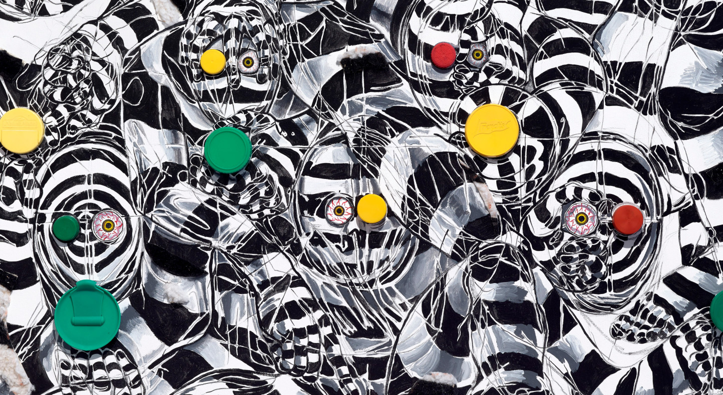 Trenton Doyle Hancock, Bloodshot Eyes, Trippy Patterning, Red, Green, and Yellow Coloration, Yep, This Piece is About Traffic Lights, 2016 (detail)