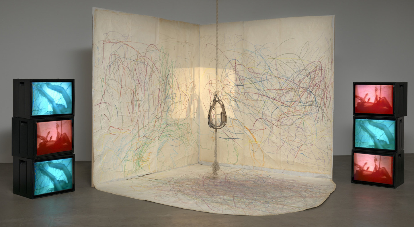 Carolee Schneemann. Up to and Including Her Limits. 1973–76. Crayon on paper, rope, harness, 16mm film projector, video (color, sound; 29 min.), and six monitors, dimensions variable. The Museum of Modern Art, New York. Committee on Drawings Funds and Committee on Media and Performance Art Funds. © 2015 Courtesy of Carolee Schneemann and PPOW Gallery, NY. Digital image © 2017 The Museum of Modern Art, New York. Photo: Jonathan Muzikar