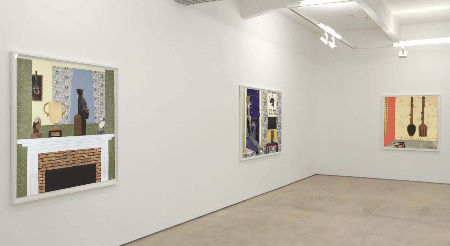 <p>Derrick Adams, <em>Aestheticized Reductions of Self-Representation</em>, installation view, Hales Gallery 2013</p>