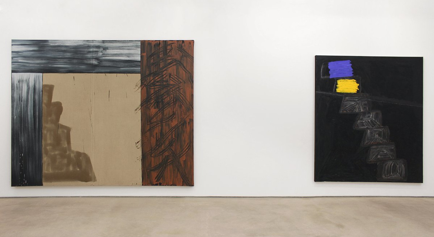<p>Basil Beattie, <em>Above and Below: Step Paintings 1990-2013</em>, installation view, Hales Gallery</p>