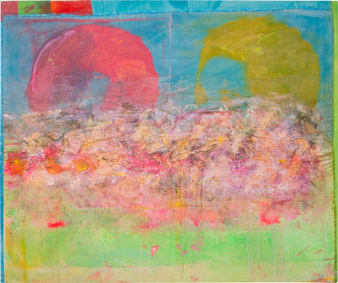 FRANK BOWLING, Little Bird Overhead, 2016, acrylic and mixed media on collaged canvas, 153 x 183.5 cm, 60 1/4 x 72 1/4 in