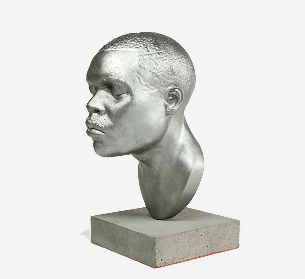 THOMAS J PRICE, Material Visions, 2016, aluminium composite, palladium, concrete, felt, 22.2 x 11.2 x 14 cm, 8 3/4 x 4 3/8 x 5 1/2 in, edition of 5 plus 2 artist's proofs (side view)