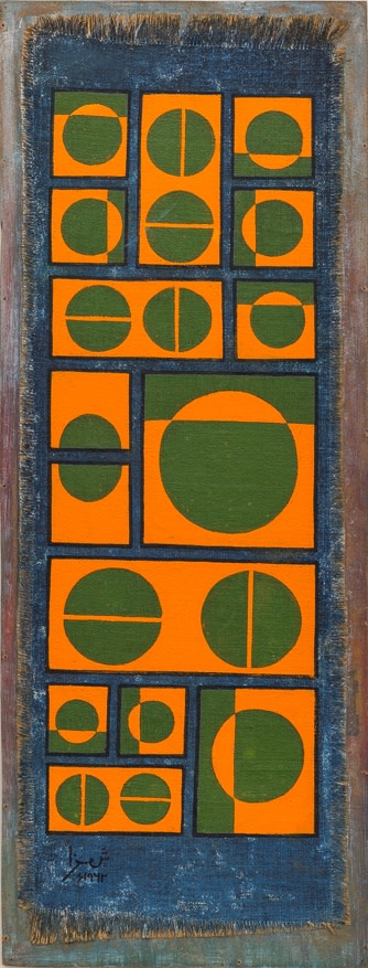 Anwar Jalal Shemza, Composition in Orange and Green on Blue, 1962, Oil on canvas on hardboard, 74 x 28 cm, framed 88.5 x 41.5 cm, Photo by Damian Griffiths