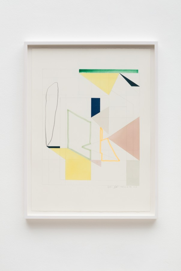 Andrew Bick, OGVDS-GW-AB #1, 2018, Watercolour, marker pen, pencil, and collage on paper, 76 x 56 cm, 29 7/8 x 22 1/8 in, Framed: 84 x 63 cm, 33 1/8 x 24 3/4 in
