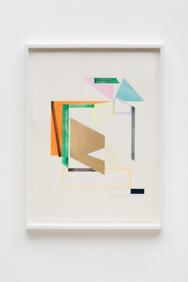Andrew Bick, OGVDS-GW-AB #3, 2018, Watercolour, marker pen, pencil, and collage on paper76 x 56 cm, 29 7/8 x 22 1/8 in, Framed: 84 x 63 cm, 33 1/8 x 24 3/4 in