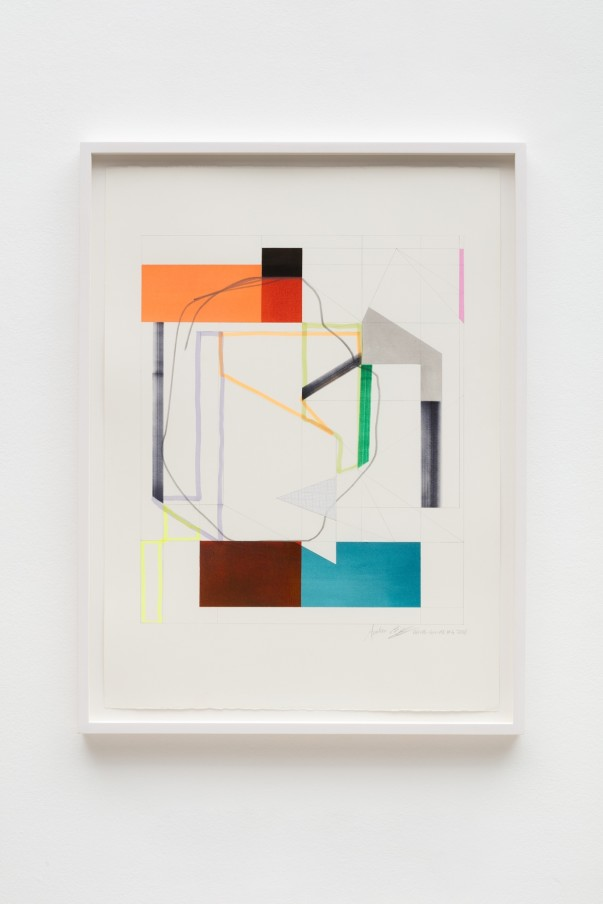 Andrew Bick, OGVDS-GW-AB #2, 2018, Watercolour, marker pen, pencil, and collage on paper, 76 x 56 cm, 29 7/8 x 22 1/8 in, Framed: 84 x 63 cm, 33 1/8 x 24 3/4 in