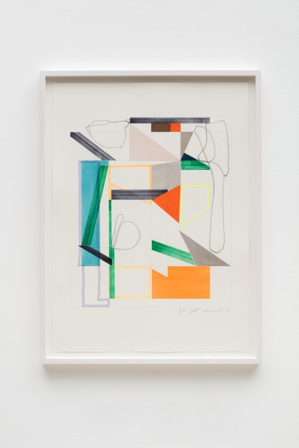 Andrew Bick, OGVDS-GW-AB #5, 2018, Watercolour, marker pen, pencil, and collage on paper, 76 x 56 cm, 29 7/8 x 22 1/8 in, Framed: 84 x 63 cm, 33 1/8 x 24 3/4 in