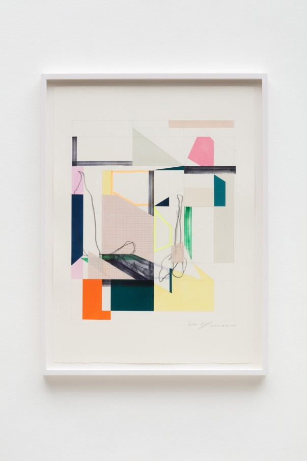 Andrew Bick, OGVDS-GW-AB #6, 2018, Watercolour, marker pen, pencil, and collage on paper76 x 56 cm, 29 7/8 x 22 1/8 in, Framed: 84 x 63 cm, 33 1/8 x 24 3/4 in