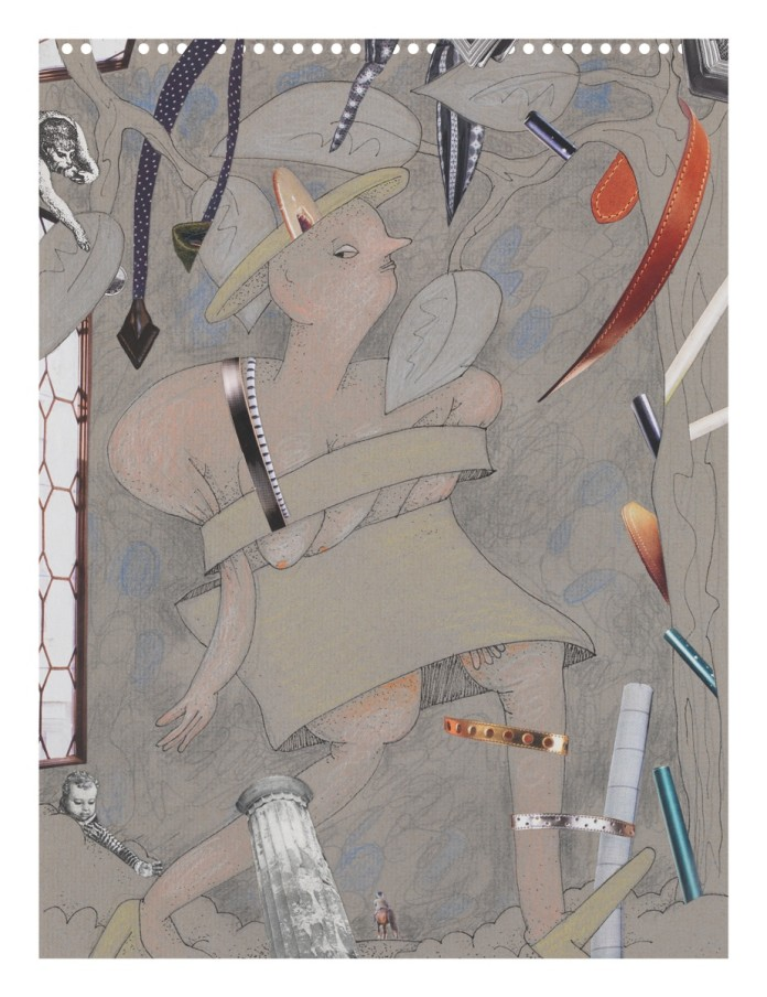 Gladys Nilsson A Walk...#8, 2014 Mixed media on paper 30.5 x 22.9 cm 12 x 9 in