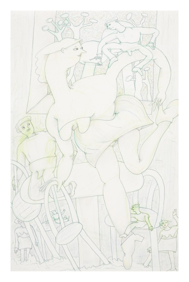 Gladys Nilsson A Window #3, 2014 Ink, graphite and coloured pencil on paper 101.9 x 66 cm 40 1/8 x 26 in Framed: 119.8 x 83.9 x 5 cm 47 1/8 x 33 1/8 x 2 in