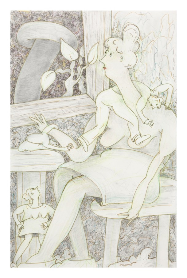 Gladys Nilsson A Window #6, 2014 Ink, graphite and coloured pencil on paper 102.2 x 66 cm 40 1/4 x 26 in Framed: 120.1 x 83.9 x 5.1 cm 47 1/4 x 33 1/8 x 2 1/8 in