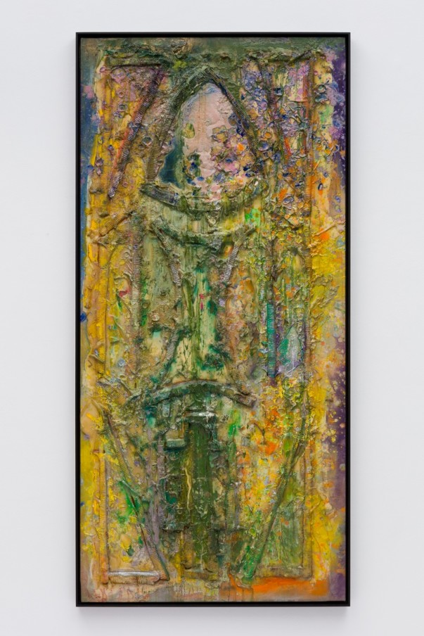 Frank Bowling, According To Waugh, 1986, Acrylic paint and acrylic gel over foam on canvas, Framed: 187.4 x 88.9 x 5.4 cm, 73 3/4 x 35 x 2 1/8 in
