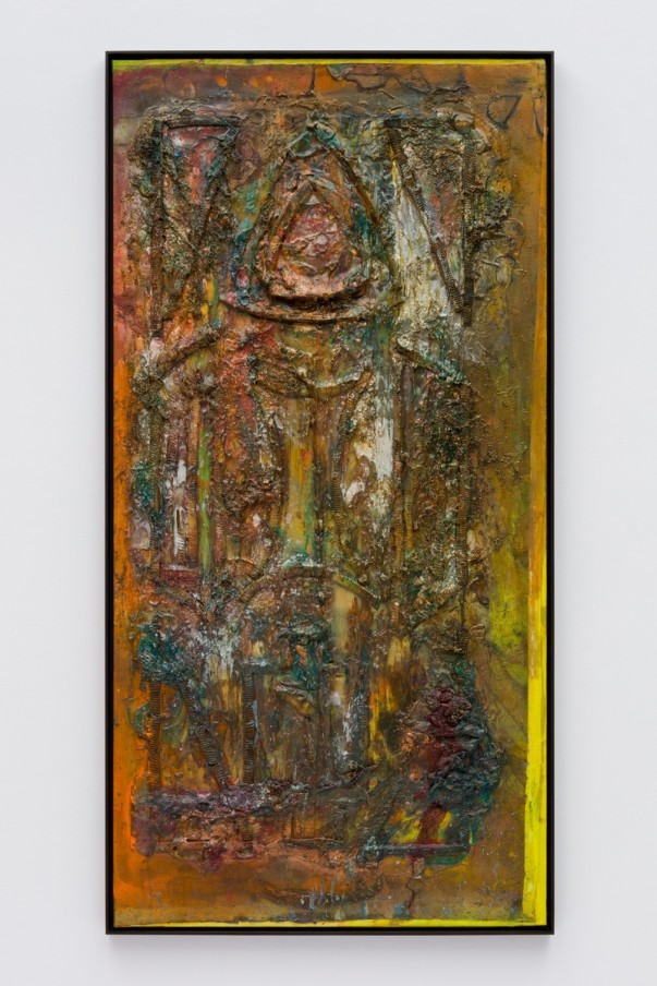 Frank Bowling, B'hind th' Alter, 1987, Acrylic paint and acrylic gel over foam on collaged canvas, Framed: 184.7 x 94.4 x 5.4 cm, 72 3/4 x 37 1/8 x 2 1/8 in