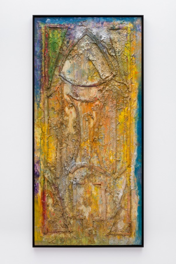 Frank Bowling, Cathedral Window, 1986, Acrylic paint and acrylic gel over foam on canvas, Framed: 186.3 x 89 x 5.4 cm, 73 3/8 x 35 1/8 x 2 1/8 in