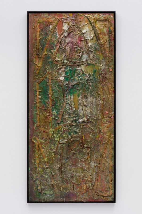 Frank Bowling, Centurian, 1986, Acrylic paint and acrylic gel over foam on canvas, Framed: 191.5 x 88.8 x 5.4 cm, 75 3/8 x 35 x 2 1/8 in