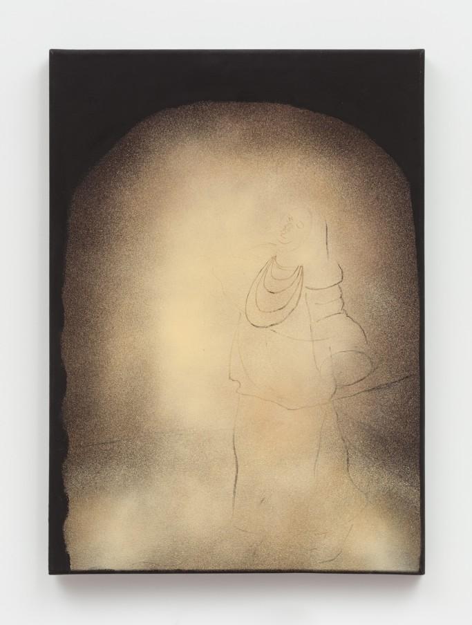 Curtis Talwst Santiago A Luz, 2018 Spray paint, oil, charcoal, pastel, acrylic on canvas 69.8 x 50.2 cm 27 1/2 x 19 3/4 in