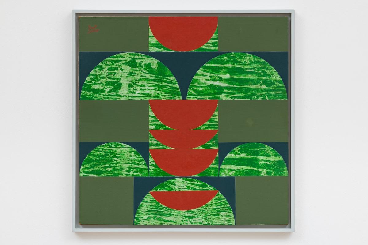 Anwar Jalal Shemza, Square Composition 14, 1963, Oil on hardboard, Framed: 65 x 65 cm, 25 5/8 x 25 5/8 in