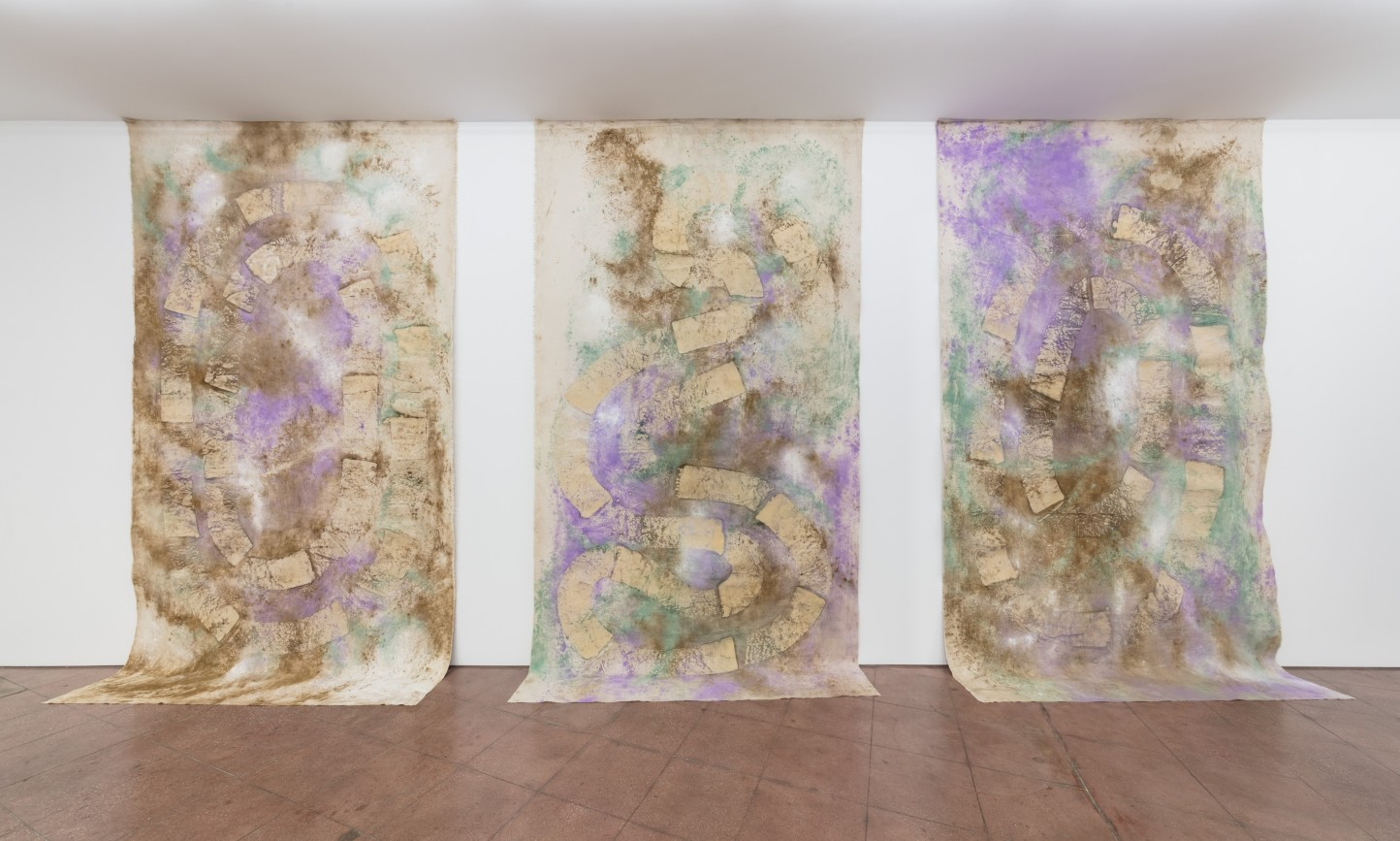 Jessica Warboys 3x River Wax Painting (Snake, Shape, Lake), 2019 Mineral pigment and beeswax on canvas in three (3) parts Part 1: 383 x 208 cm 150 3/4 x 81 7/8 in Part 2: 381 x 208 cm 150 x 81 7/8 in Part 3: 378 x 208 cm 148 7/8 x 81 7/8 in