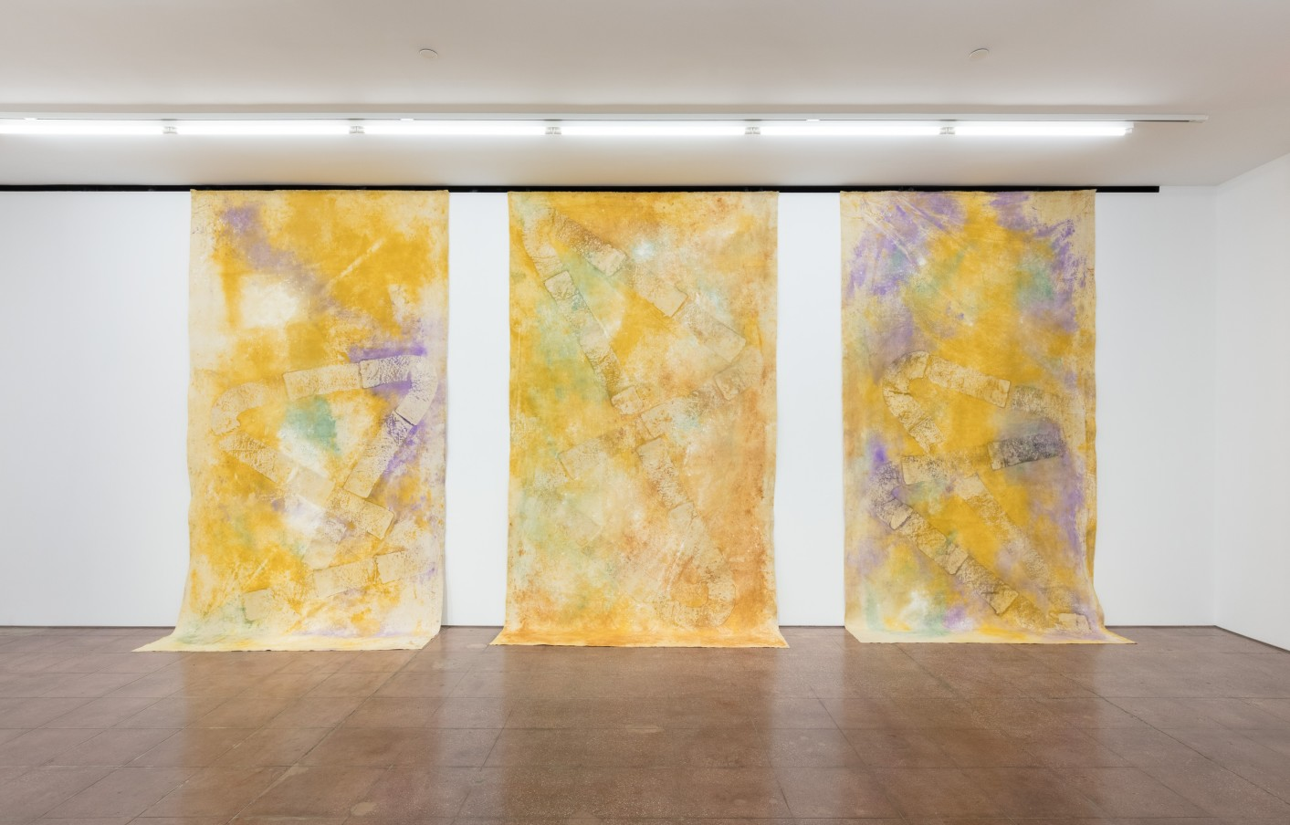 Jessica Warboys 3x River Wax Painting X (I, II, III), 2019 Mineral pigment and beeswax on canvas in three (3) parts Part 1: 381 x 210.8 cm 150 x 83 in Part 2: 381 x 210.8 cm 150 x 83 in Part 3: 381 x 210.8 cm 150 x 83 in