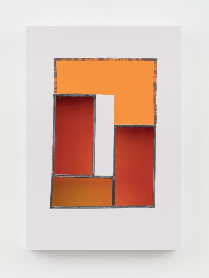 Jessica Warboys HOUR I, 2019 Acrylic, antique glass, lead came, plywood 87 x 59.7 x 8.9 cm 34 1/4 x 23 1/2 x 3 1/2 in